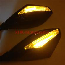 Motorcycle Integrated LED Turn Signals Side Mirrors for street bike Gloss BK+CL