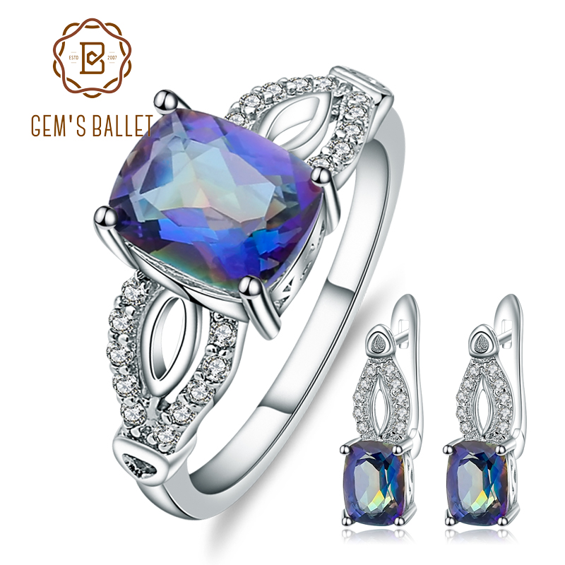 GEM'S BALLET 5.98Ct Natural Blueish Mystic Quartz Jewelry Set For Women Wedding 925 Sterling Silver Earrings Ring Set New 2018