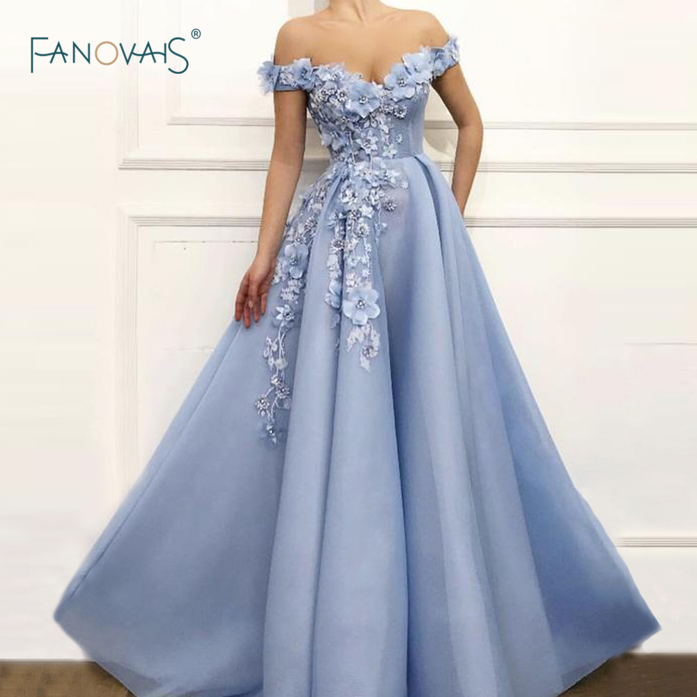 Blue Evening Dresses 2019 Off the Shoulder Flower Beaded Formal Evening Gown Long Prom Dress Dress