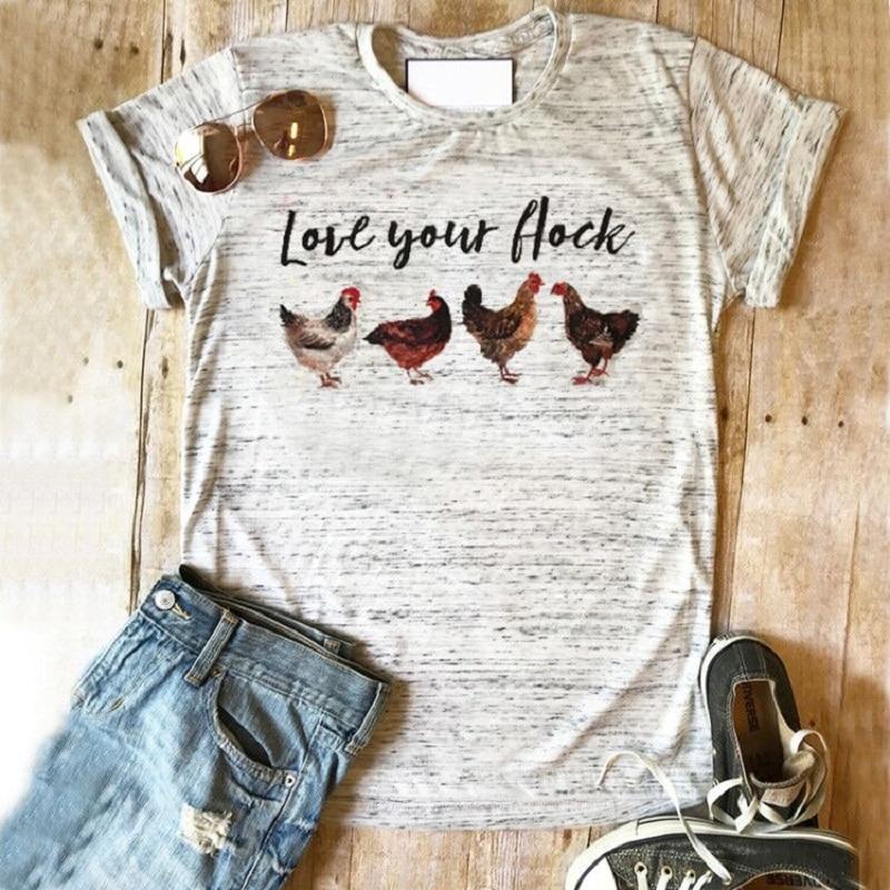 d098a6a2ba47 Chicken shirt Love your flock tops farm tshirt graphic tees 2019 women top  plus size print tee rose girls harajuku clothing