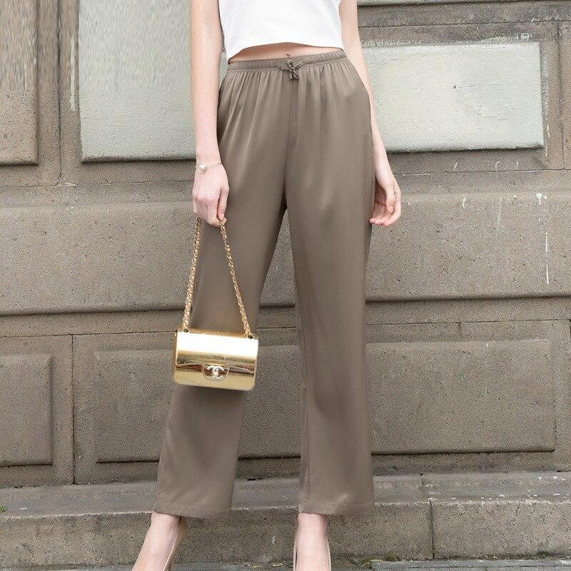 Sprzedaż hurtowa kobiet prawdziwego jedwabiu spodnie wysokiej talii luźne spodnie na co dzień pełnej długości spodnie damskie spodnie wygodne kobiece Plus OL spodnie 605 w Spodnie i spodnie capri od Odzież damska na  Grupa 2