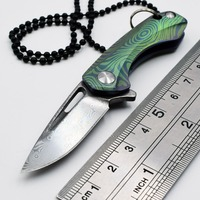 Mini Folding Knife Carry EDC Key Ring Necklace Titanium Damascus Blade Survival Camping Tools Paper Out Of The Box Pocket Knife