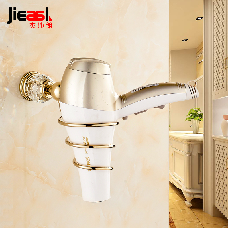 Wall Mounted Hairdryer Holder Stand Crystal Gold Wall Mount Hair Dryer Holder Brass Hair Dryer Professional Rack Bathroom Shelf euro antique brass bathroom hair dryer holder wall mounted commodity wall hair dryer shelf holder wall hair dryer wall shelf