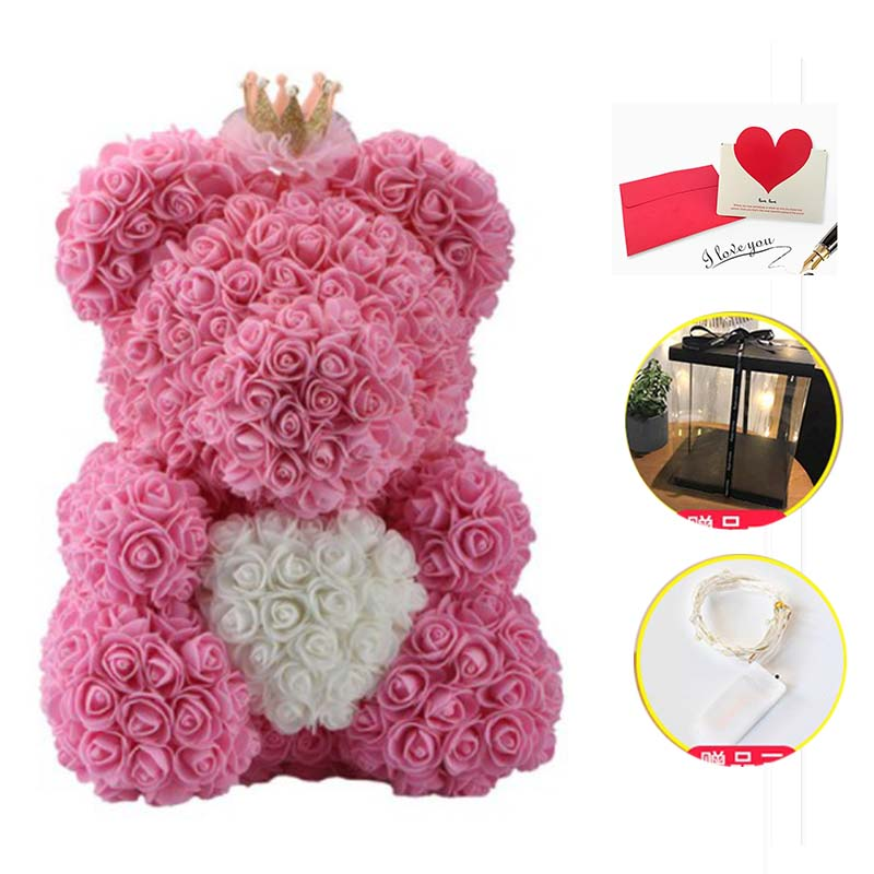 2018 Drop Shipping 40cm Big Red Teddy Bear Rose Flower Artificial with LED Box Christmas Gifts