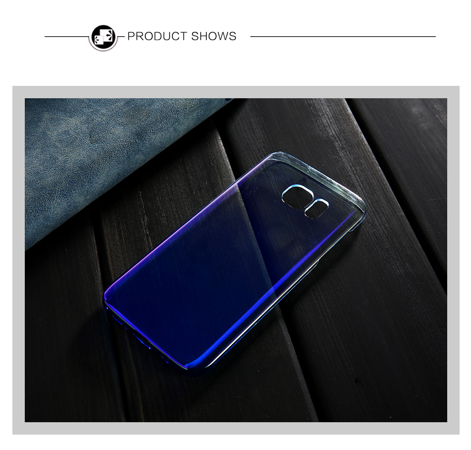 FLOVEME Cool Blue Ray Plastic Case For Smausng Galaxy S7  S7 Edge  S8  S8 Edge  S6  S6 Edge Gradient Color Plated Cover (8)