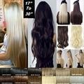 Природных прямой Зажим для волос в на Наращивание Волос 26 дюймов 66 см Длина длинные Густые Светлые волосы Черный Темно-Русый парики