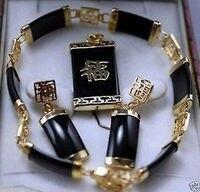 Belas Jóias de pedra negra pulseira pingente brinco set >>> banhado relógio de Quartzo por atacado pedra de cristal CZ