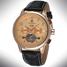 Dress Casual Men s Mechanical Wrist Watch Sub dials Tourbillon Black Genuine Leather Strap Auto Complete