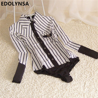 Brand Women Striped OL Long Sleeve Cotton Casual Body Blouse Shirt Women Tops One Piece Body