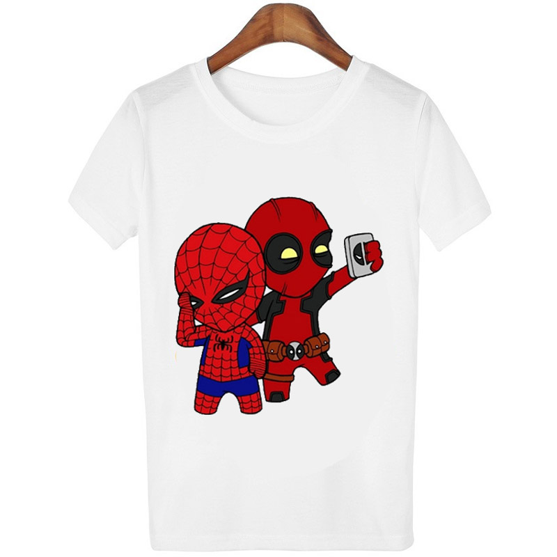 Harajuku-Frauen-T-shirt-Deadpool-reiten-ein-einhorn-Druck-lustige-T-shirts-casual-Oansatz-tees-mode
