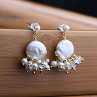 Designer hand made of natural freshwater pearls antique earrings