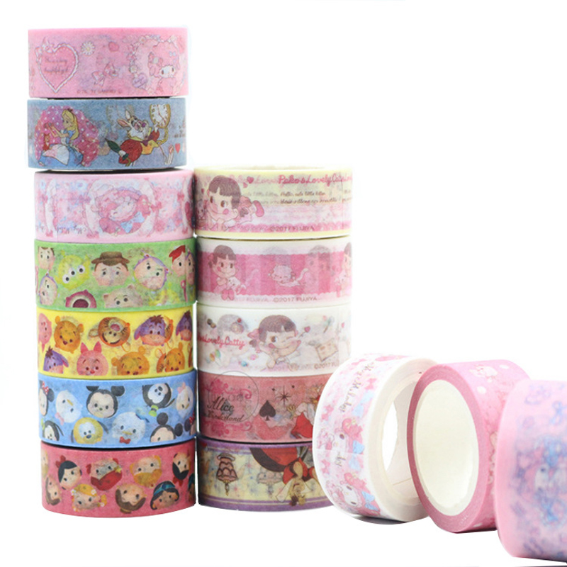 15MM*5M Melody Mickey Paper Masking Tape Scrapbooking Decorative Washi Tape Diary Notebook Album DIY Craft diy lace frame transparent clear rubber stamp seal paper craft photo album diary scrapbooking paper card for wedding gift cc 79