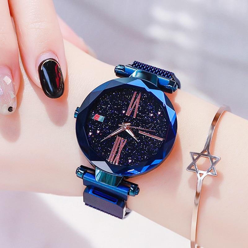 relogio feminino zegarek damski Luxury Women Watches Fashion Female Starry Sky Magnet Watch Minimalist Ladies Clock Wife Gifts in Women 39 s Watches from Watches