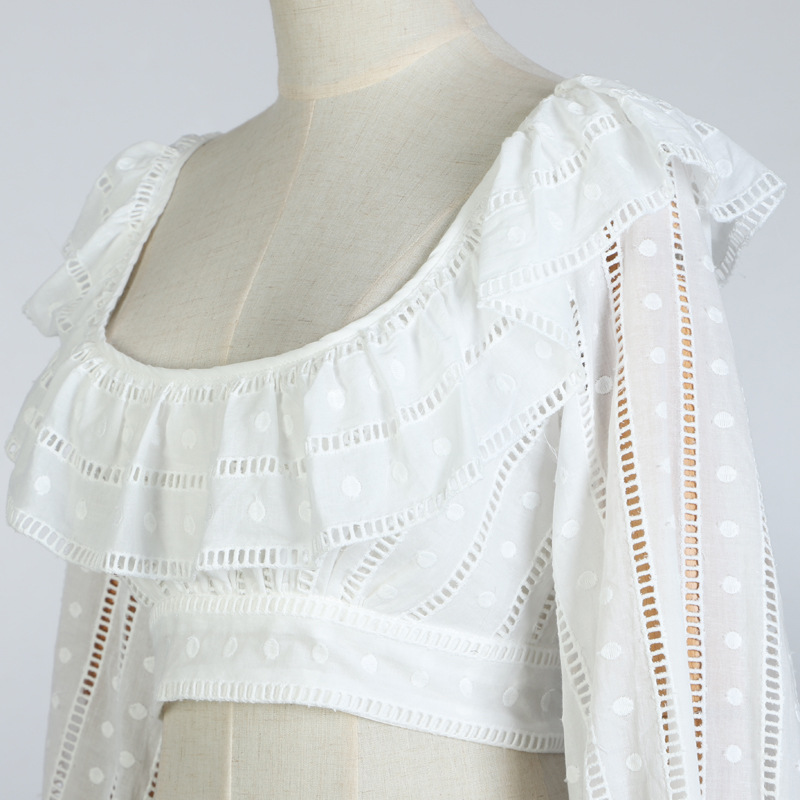 Las Calle Mujeres Mangas Puff Blanco Volantes Lindo Primavera De Señoras Corto Blusas Nueva Encaje Cuadrado Collar 2019 Alto Dulce OxwqaCOP7