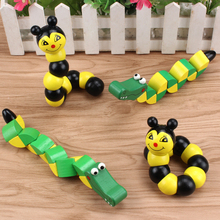 Candy color Wooden Twist Caterpillar Baby Toy Newborn Early Learn Educational Wooden Toys Montessori math toys