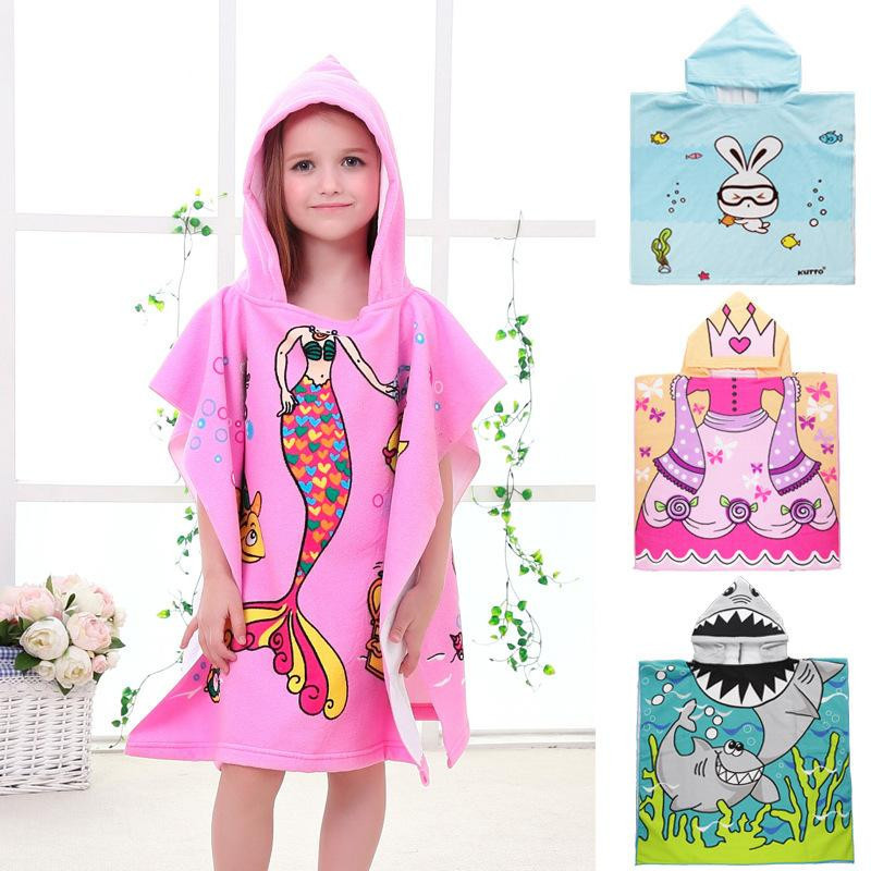 New Children Cute Cartoon Hooded Cloak Beach Towel Animal Printed Microfiber Baby Boys Girls Kids Swimming Bath Towel 120x60cm shirtaporter платье длиной 3 4