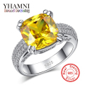 Fine Jewelry Have S925 Logo Real 925 Sterling Silver Ring Set Luxury 4 Carat Yellow Zircon Stone Wedding Rings for Women YR015