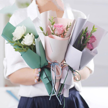 New Paper Packaging Flowers Gift Wrapping Waterproof Two Color Matte Bouquet Materials 20pcs/lot