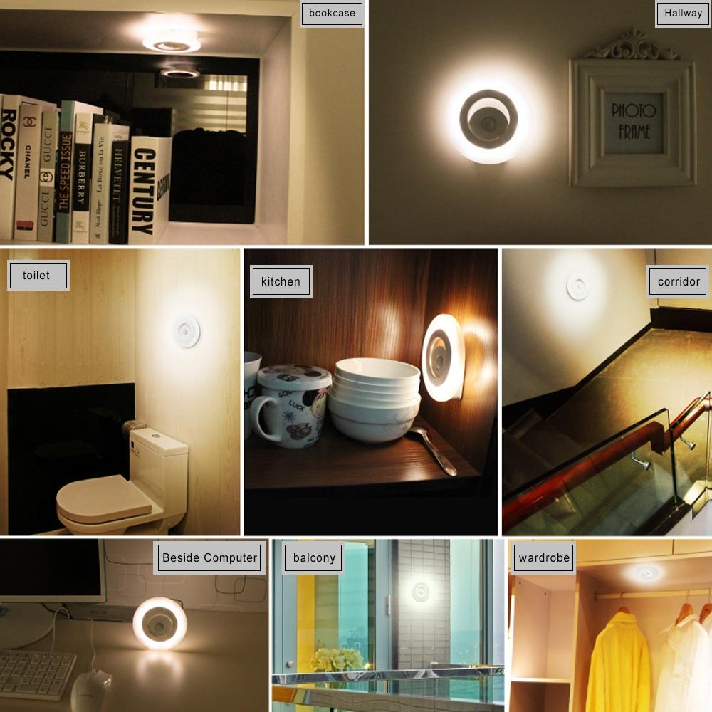 konesky 360 graden draadloze wandlamp ir bewegingssensor led nachtlampje batterij operated verlichting voor onder keukenkasten in konesky 360 graden