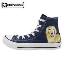 Classic Blue Converse All Star Men Women Shoes Pet Dog Golden Retriever Original Design Hand Painted High Top Canvas Sneakers