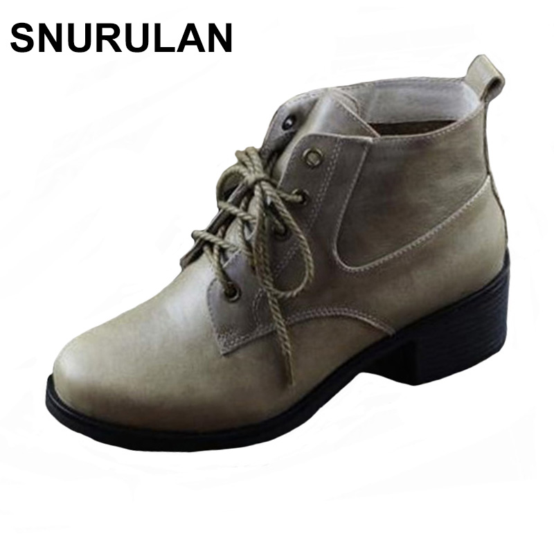 SNURULAN Women's Boots Winter Shoes 100% Authentic Leather Ladies Ankle Boots Plain Toe Lace up Female Winter Boots chic pu plain lace up mens winter boots