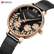CURREN Fashion Women Watch Black Golden Flower Slim Dial Mesh Belt Casual Quartz Wristwatch Relogio Feminino Saat Ladies Watches