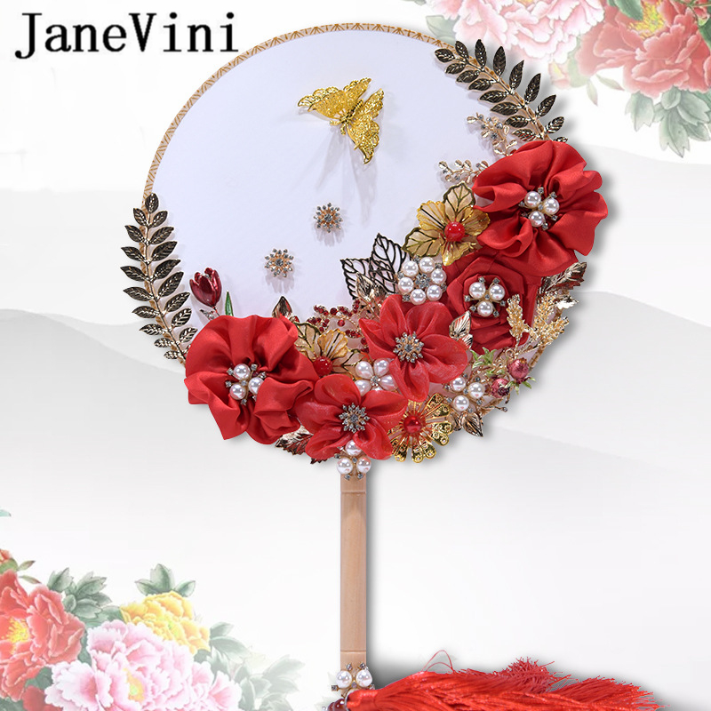JaneVini Elegant Chinese Red Wedding Fan Bouquets Beaded Golden Leaves Pearl Metal Bridal Hand Fan Flowers Wedding Accessories