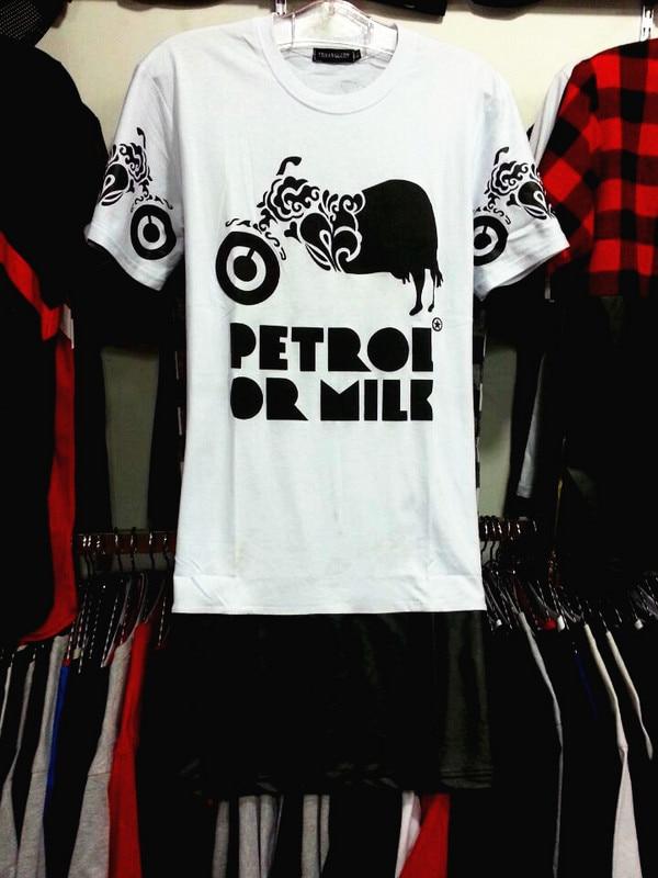 2016 New Brand Mens T Shirts Fashion Petrol Or Milk New