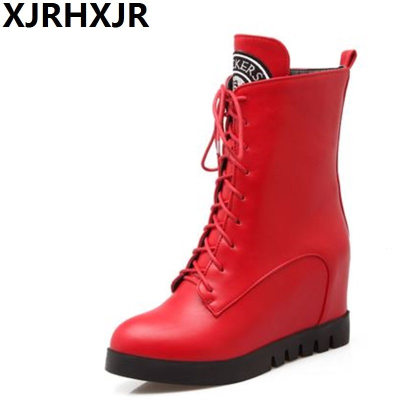 XJRHXJR British Style Red Black Cross Straps Matin Boots Autumn Winter Shoes Woman Height Increasing Mid Calf Platform Boots Zip цена