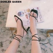 2019 Fashion High Heel Sandals For Summer Narrow Band Strange Heel Cross Tie Ankle Strap Sandals For Party Shoes sandalias mujer недорго, оригинальная цена