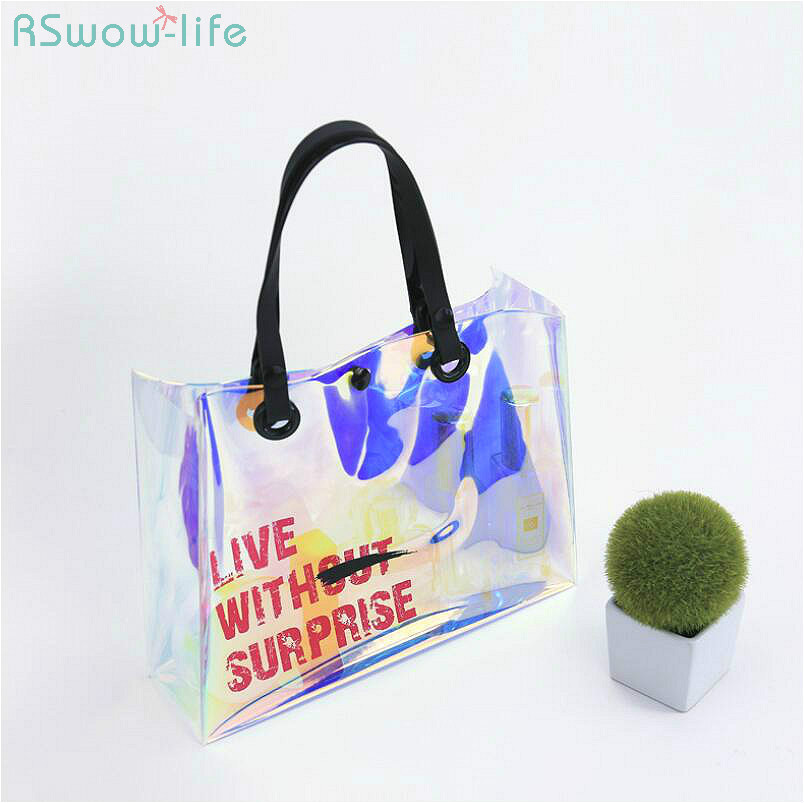 Laser TPU Button Waterproof Travel Environmentally Friendly Fashion Women Bag Storage Supplies Cosmetic Bags Color