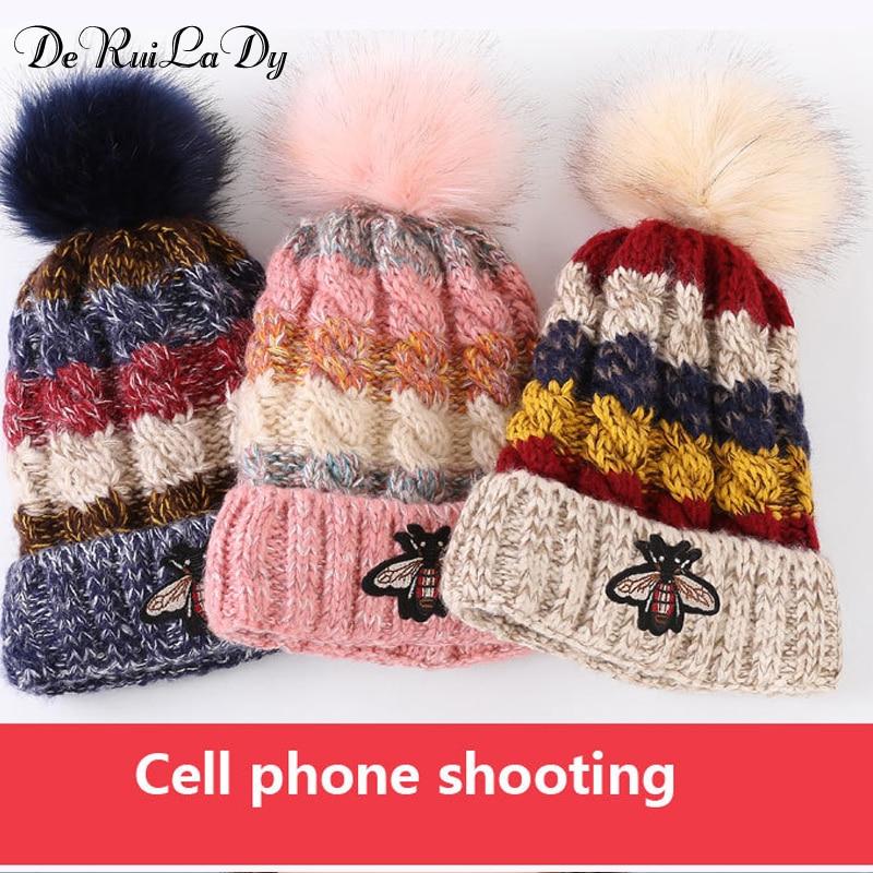 e7508a0b DeRuiLaDy 2018 New Women Woolen Yarn Hats Autumn Winter Hat Small Bee  Pattern Four Color knitting Female Skullies Beanies-in Skullies & Beanies  from Apparel ...
