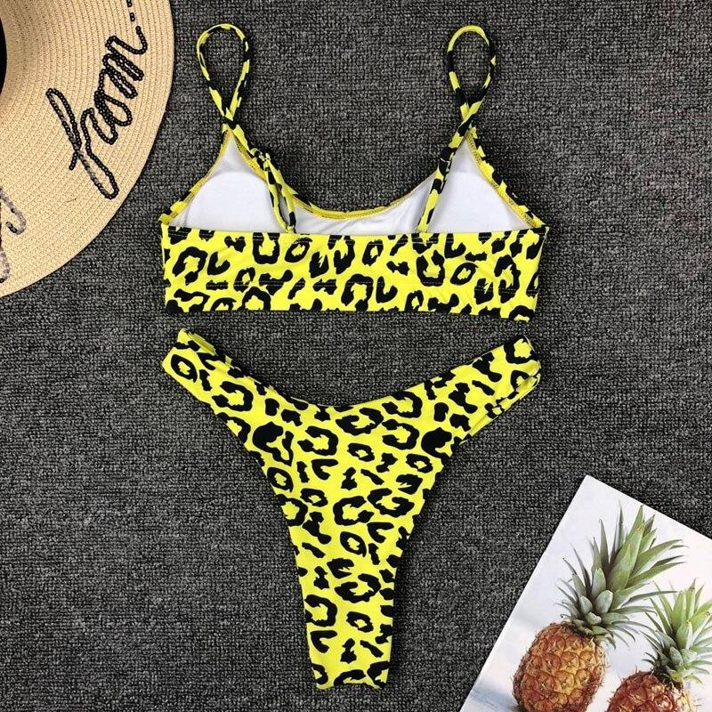 HTB1VKiiO7zoK1RjSZFlq6yi4VXa9 2019 New High Waist Bikini set Yellow Bandeau Swimsuit Sexy Print Thong Bikini Women Swimwear Two-pieces Bather Bathing Suit