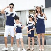 Vêtements de famille rayé épaules dénudées mère fille robe famille correspondant vêtements père fils T-shirt Parent-enfant ensemble de famille