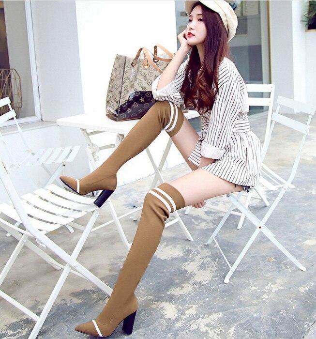 Tricoté Nouveau as Élastique Femmes genou Picture Femme As Over Picture Chaussures À Manches Longues Chaussettes the Bottes Laine xrqaYvrBw