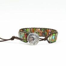 Women Boho Bracelet Tube Shape Natural Stone Single Leather Wrap Bracelet Semi Precious Stone Beaded Cuff Bracelet Dropship natural stone floral cuff bracelet