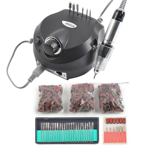 Black Nail Tools Electric Nail Drill Machine 30000RPM Nail Art Equipment Manicure Kit Nail File Drill Bit Sanding Band Accessory excellet value 1 pc blue medium 3 32 white ceramic nail drill bit manicure professional electric manicure cutter nail tools
