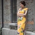 TIC-TEC chinese traditional women vintage flower print cheongsam long qipao oriental dresses elegant formal evening cloth P3051
