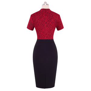 Image 2 - Nice forever Vintage Contrast Color Patchwork Wear to Work Knot vestidos Bodycon Office Business Sheath Women Dress B430