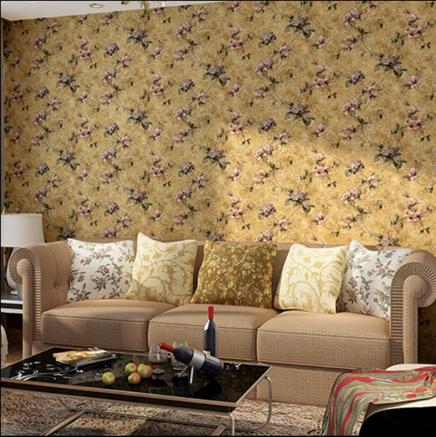 2016 new hot selling non-woven wallpaper old American country rural big flower wall paper restoring ancient ways TV setting wall europe type restoring ancient ways the flag of non woven fabrics do old sitting room the bedroom tv setting wall paper sweet