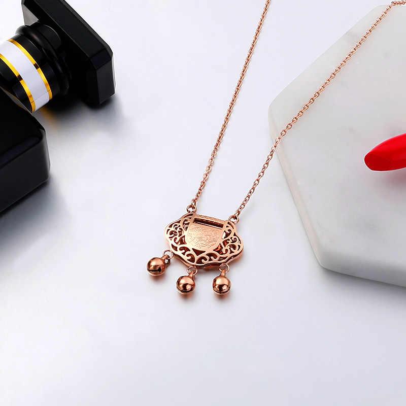 YUN RUO moda marka kobiety biżuteria różowe złoto kolor blokady długowieczności wisiorek naszyjnik 316 L ze stali nierdzewnej biżuteria nigdy nie znikną