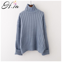 H.SA Winter Sweaters 2018 Warm Thickness Turtleneck Pullovers Fall Fashion Knitted Under cashmere sweater Warm Knit pull femme