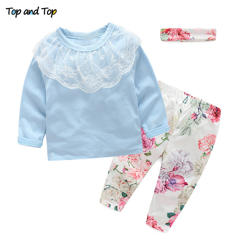 Newborn Baby-Girls T-Shirt Headband Autumn Cotton Top Pants