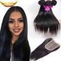 Brazilian Virgin Hair Straight 3 pcs/lot with Lace Closure 7A Unprocessed Virgin Hair Brazilian Virgin Hair With 4x4 Closure