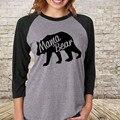 Mulheres Manga comprida Grosso T-shirt Mamãe Urso de Algodão Tops Casual Solto Pulôver Tops
