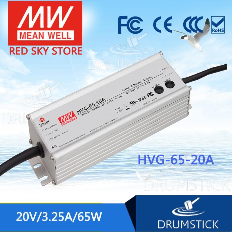 цена на MEAN WELL HVG-65-20A 20V 3.25A meanwell HVG-65 20V 65W Single Output LED Driver Power Supply A type