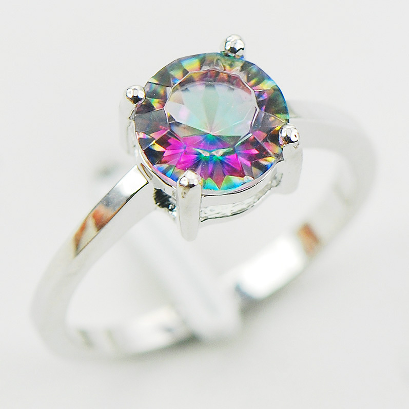 Cekung Cut Rainbow Mystic Kristal Zircon 925 Sterling Silver Wedding Party Desain Cincin Ukuran 5 6 7 8 9 10 11 12 A28 Kapal Gratis