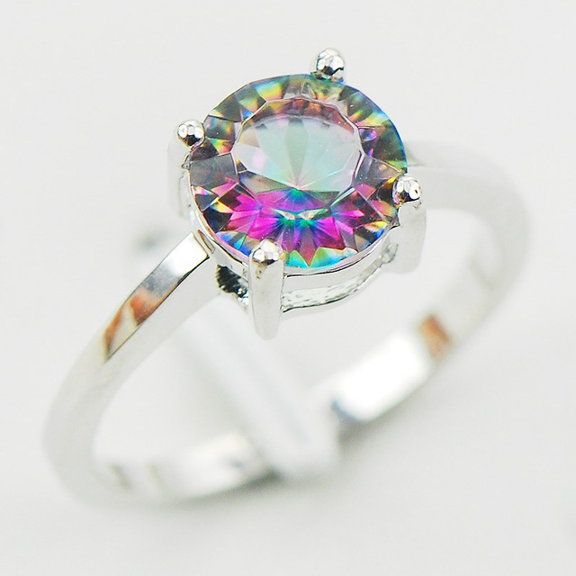 Concave Cut Rainbow Mystic Crystal Zircon 925 Sterling Silver Wedding Party Design Ring Size 5 6 7 8 9 10 11 12 A28 Free Ship