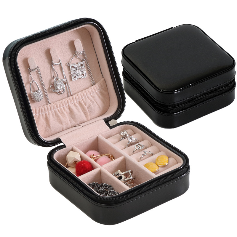 Jewelry Organizer Display Travel Jewelry Case Boxes Portable Jewelry Box Zipper Leather Storage Joyeros Organizador De Joyas(China)