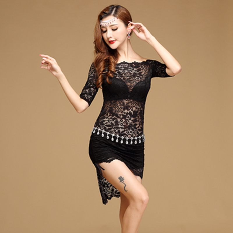 Women Belly Dance Costume Oriental Dancing Clothing For Women One Piece Middle Sleeve Lace Latin Ballroom Belly Dance Dresses